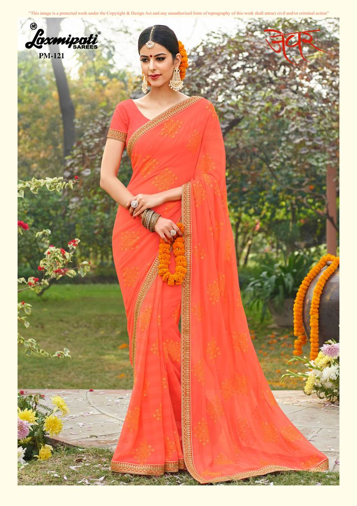 View this Stunning Bright Orange #Chiffon #Embroidery_Saree with Stone Work and Bright Orange #Bhagalpuri_Silk Blouse along with Embroidery Zari Lace Border from #Laxmipatisarees. #Catalogue-#Zever #Designnumber- Zever121  #Colorfulsarees #Cashondelivery #Orderonline #Freedelivery #Freeshipping #Freehomedelivery #Manufacturer #Retailer #Ecommerce #Onlineservices #Festival #Worldwidedelivery #Shopnow #Happyshopping #India #Zever0317 #Oekotex #Couture #Ethnicwear