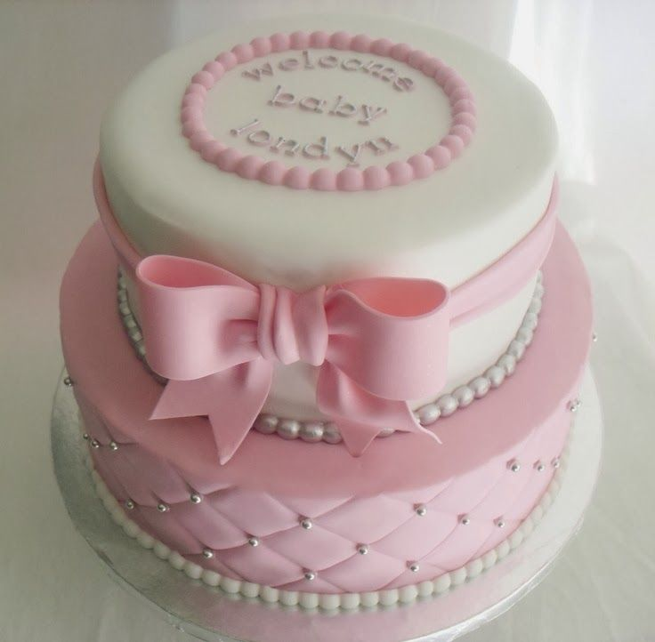 Pink and White Baby Shower Cake!
