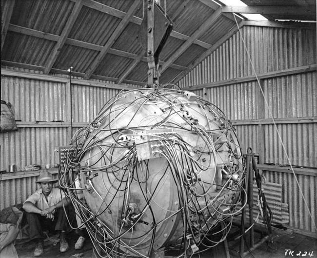 1940s: This was the first nuclear bomb in the world. It was used on Japan to end the war. It was built in the Manhattan Project in New Mexico. It employed over 100,000 people.