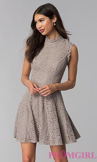 cd2e4a92ef Fit-and-Flare Short Lace Party Dress in Taupe in 2018