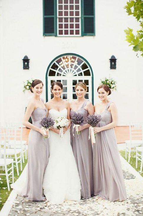 Lilac Gray bridesmaid dresses PANTONE 16-3905
