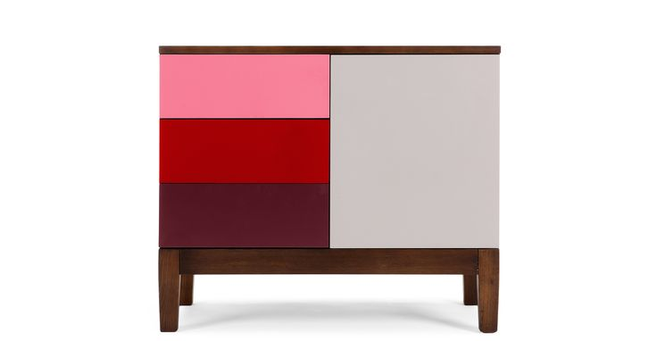 Vernay Sideboard, Dark Stain Ash with Multicolour Red £429