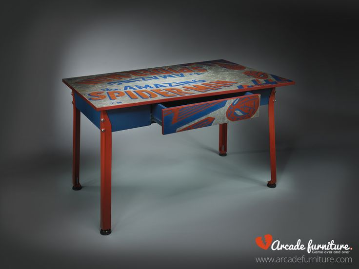 This desk was made from The Amazing Spider Man pinball built by Gottlieb in 1980, wich has survived the Balkan wars in Serbia and has lived to tell the tale. There are visible battle scars, however these only add to its charm. For more information please visit our homepage www.arcadefurniture.com or FB page https://www.facebook.com/pages/Arcade-Furniture/208886032582245