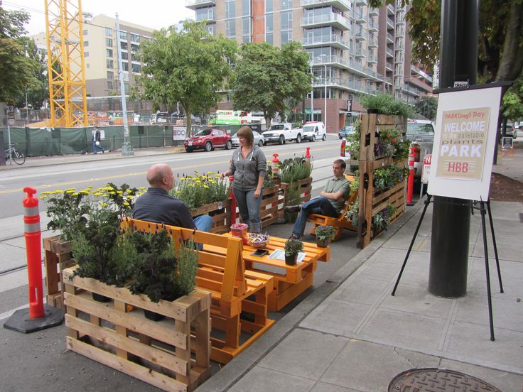 HBB Landscape Architecture has created the Palletable Plants Park, a temporary installation in a parking space in front of the firm's Seattle office at 215 Westlake Ave. N.