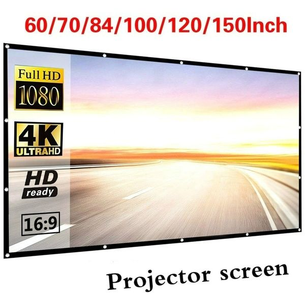 60 70 84 100 120 150 Inch Projector Screen 16 9 Hd Anti Wrinkle Indoor And Outdoor Collapsible Portable Movie Screen For Home Office Travel Party 4k 3d Whit In 2020 Portable Projector Screen Projector Screen Outdoor Projector