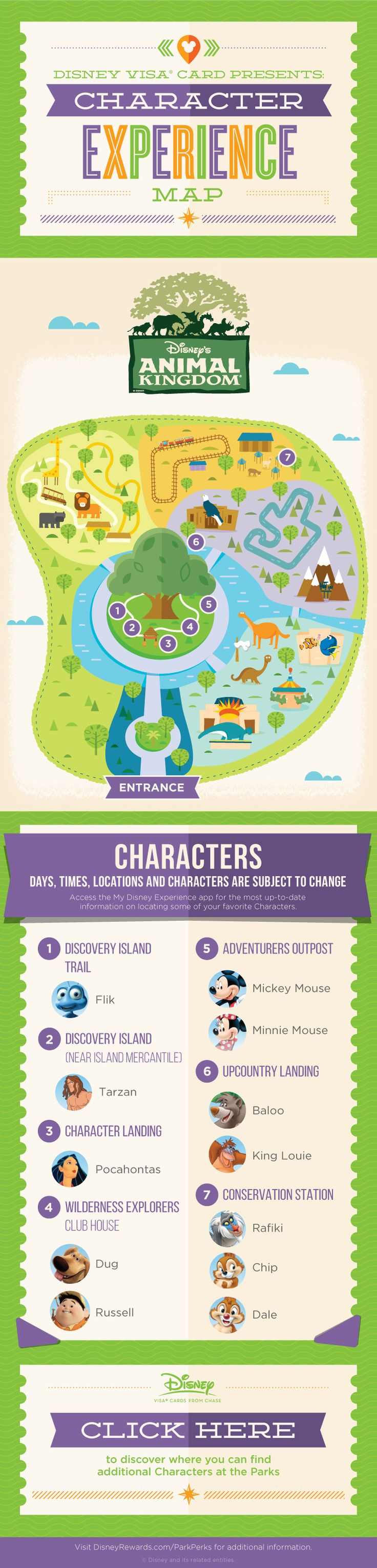 There are beloved Disney Characters waiting among the wildlife to meet you in Disney's Animal Kingdom®. Want to find out who, where, and when? You don't need to go on safari - just open up this guide and get going! Download the My Disney Experience app for the most up-to-date information.