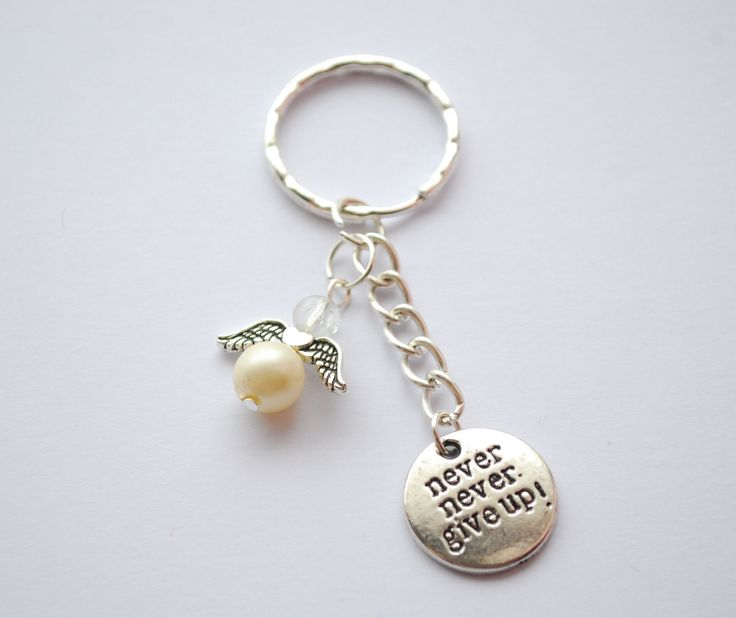 Never give up angel key chain - angel key chain - white angel key chain - inspirational key chain - motivational keychain - motivating by leonorafi on Etsy