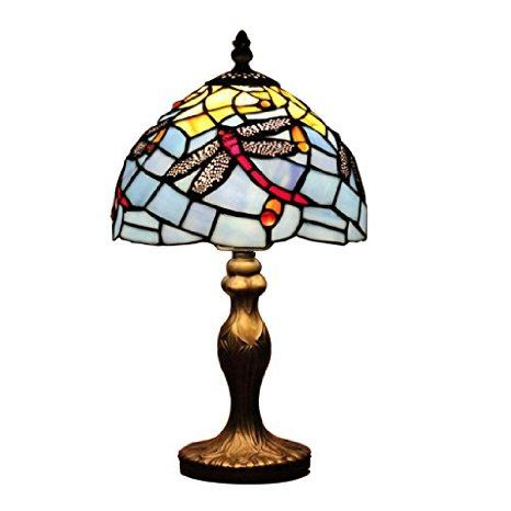 Gweat Tiffany 8-Inch European Pastoral Mediterranean Style Stained Glass Dragonfly Series Table Lamp Bedside Light Desk Lamp
