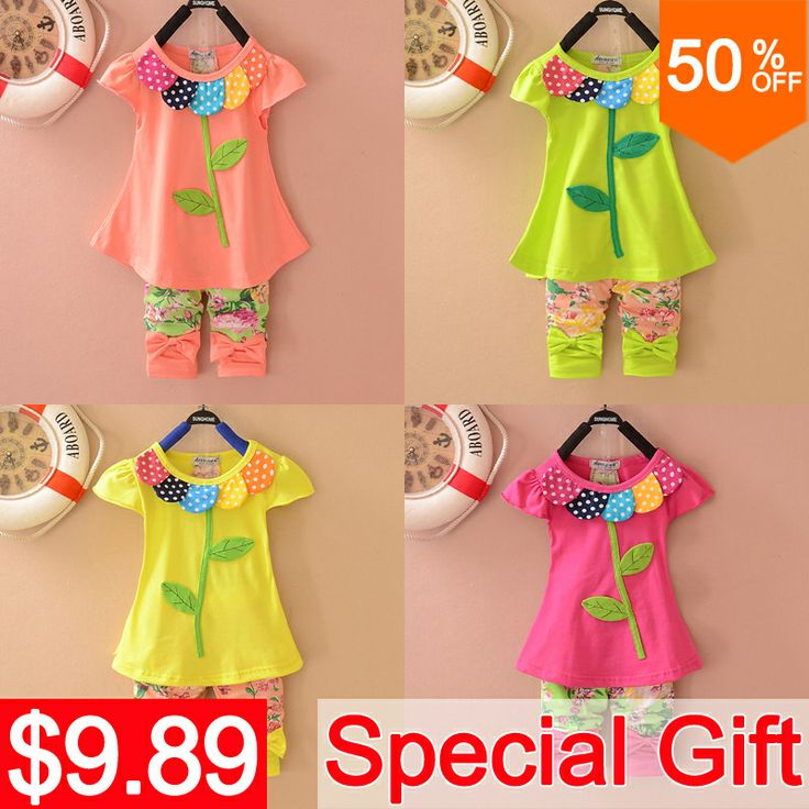 New Fashion 2014 Korean Summer Girls Clothing Set Beautiful Clover Floral Print Clothing Set Short Sleeves With Bow Kids Clothes US $9.89