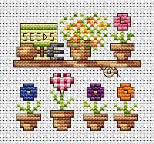 Small flower pots - cross stitch