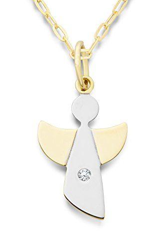 Miore Damen-Halskette mit Anhänger Schutzengel Brillant 9 Karat 375 Gelbgold 45cm MA9044N - http://schmuckhaus.online/miore/miore-damen-halskette-mit-anhaenger-schutzengel