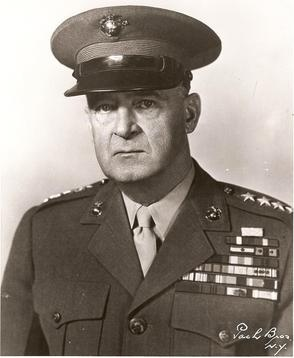 Marine General Alexander Vandergrift, commander of American Guadalcanal forces during campaign.  Guadalcanal Campaign 8/7/1942-2/21/1943.Guadalcanal is part of the Solomon Island Chain in the SouthWest Pacific.