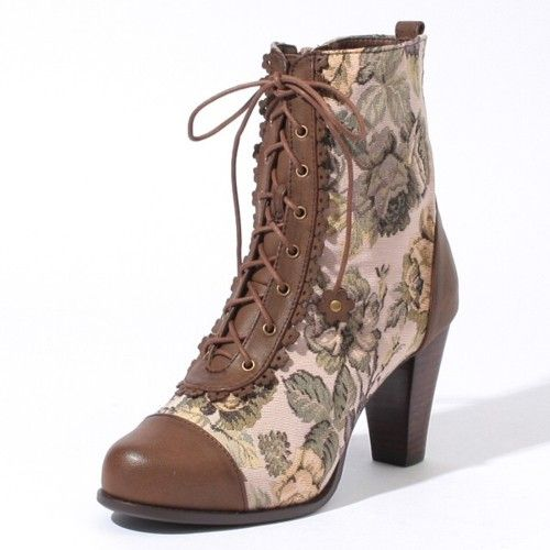 Cute boot!  Tapestry high-heeled paddock-style boot.