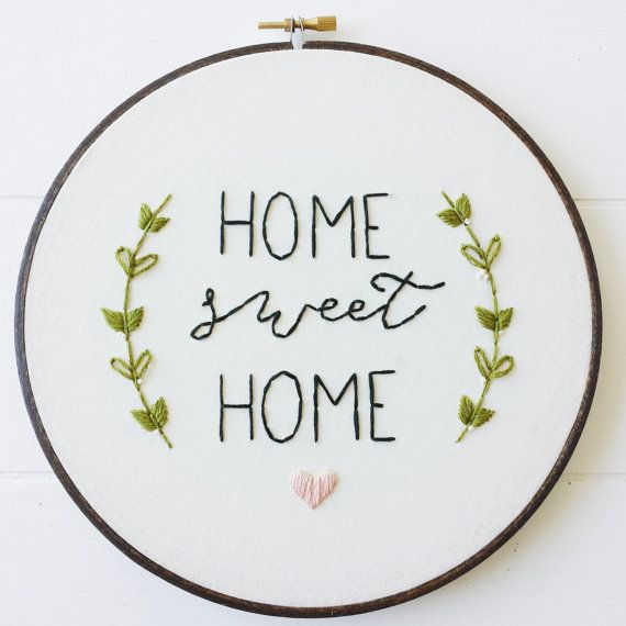 Home Sweet Home Embroidery Pattern, PDF Pattern, Housewarming, Hand Embroidery…