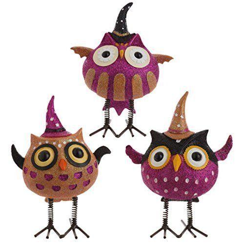 raz imports halloween decoration black orange and purple halloween bobble resin owls