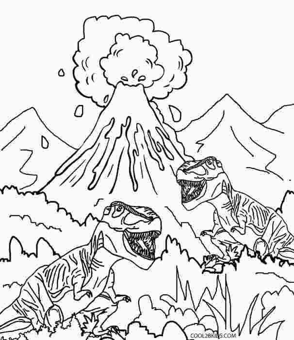 Dinosaur And Volcano Coloring Pages Dinosaur Coloring Pages Dinosaur Coloring Birthday Coloring Pages