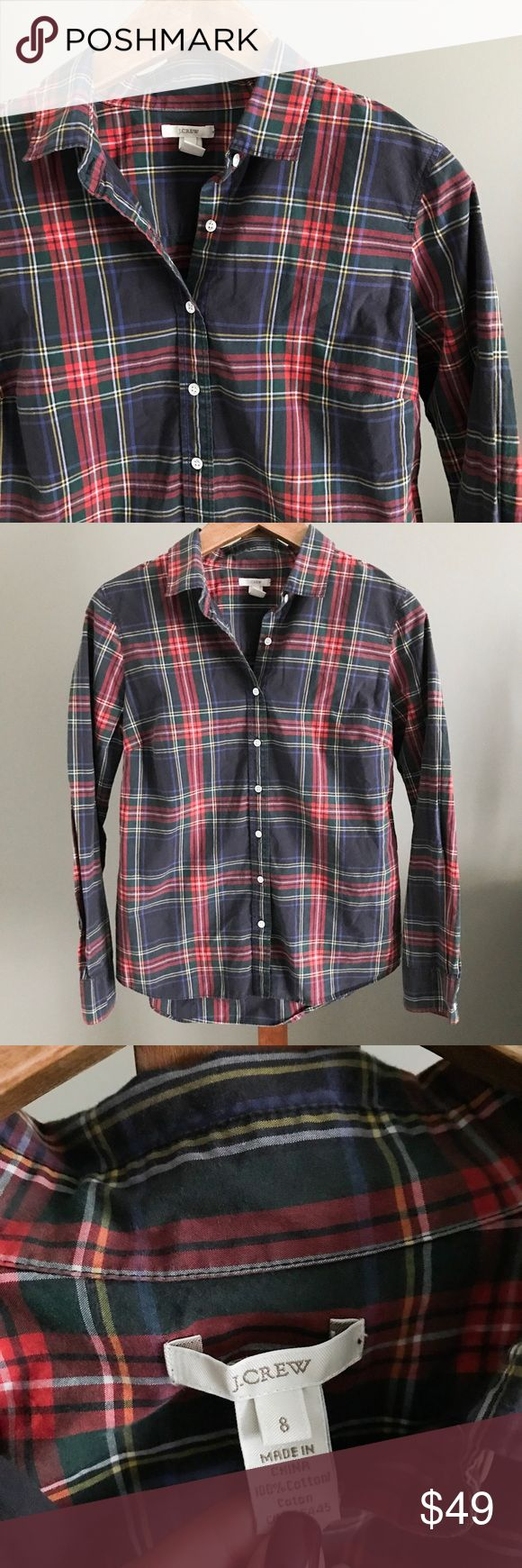 J. Crew Tartan Plaid Perfect Shirt The classic and iconic Tartan Plaid shirt from J. Crew! This top is a blogger favorite. This is the original version from the retail store, not the lower-quality outlet remake. Size 8 and in perfect condition! J. Crew Tops Button Down Shirts