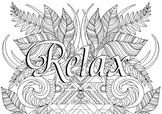 RELAX Coloring Page Adult Affirmations Quotes Printable Pdf Instant Downloadable PDF