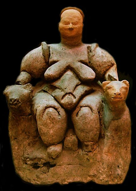 The famous leopard-enthroned goddess from the granary at Çatal Hüyuk, close to 6000 bce.