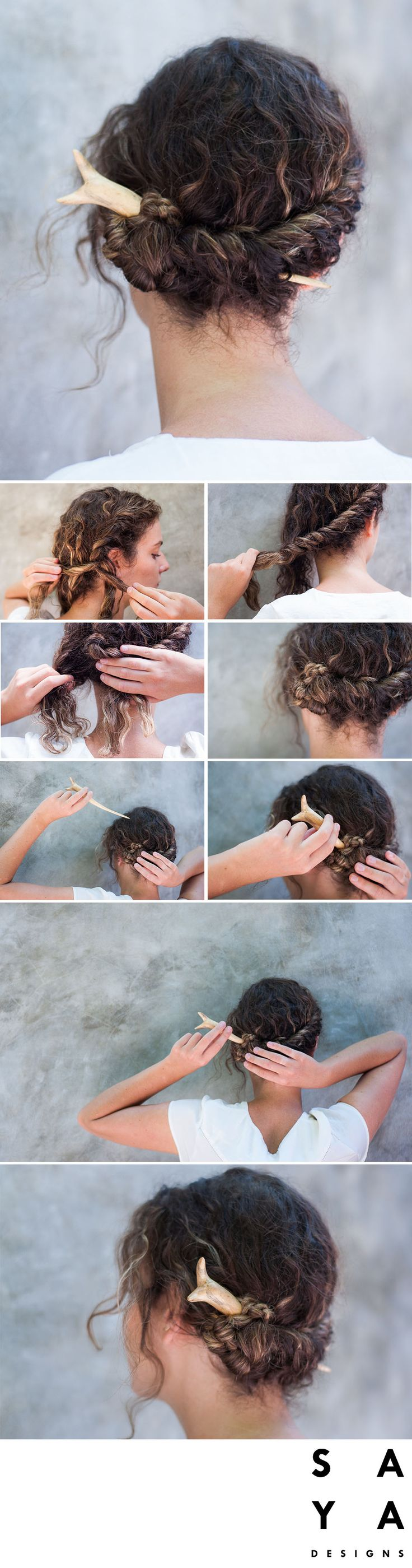 """How to do a """"French Twist"""".  Start by making a french braid from one side of head twisting round to the other side. Plait the remaining hair into a regular plait right down to the very bottom and hold firmly. Take the loose plait and twist it round itself into a low bun on the existing side. Take the hairpin to secure the bun to your head and weave it through multiple layers of hair until secure.  The hairpin used in this tutorial is the """"Soka Bud"""" from our new collection now LIVE on…"""