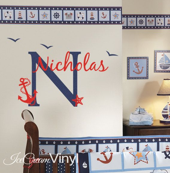 Nautical Wall Decal Personalized Name for Nursery by IceCreamVinyl, $30.00