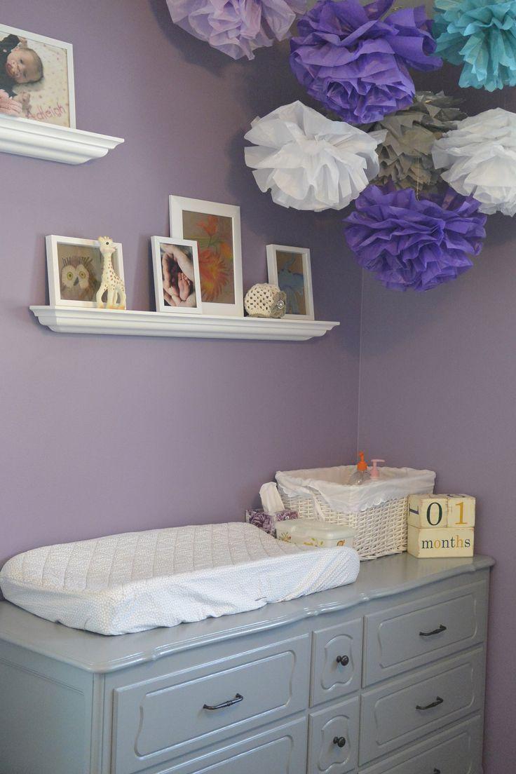 purple, grey, and teal nursery