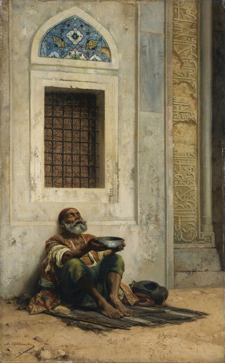 Stanislaus von Chlebowski (Polish, 1835-1884). Mendicant at the Mosque Door