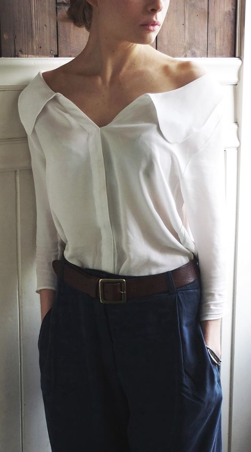 Off-shoulder blouse.