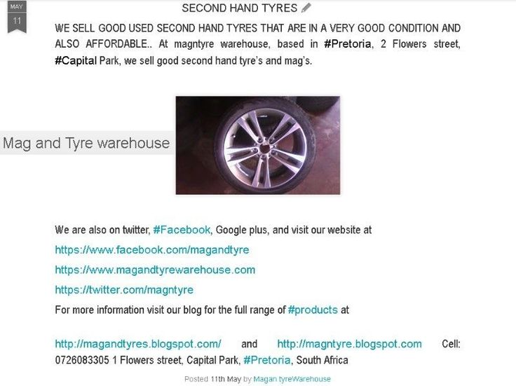 """NEED GOOD SECOND HAND TYRES!!!! NO PROBLEM 60 TO 65 % TREAD..0127511818....""""YOU RING WE BRING"""" Dunlop, Goodyear, Bridgestone, Michelin, Pirelli, Yokohama and Toyo. The Bridgestone 225 45 17 runflat tyres are R849 each with 65 % thread. Contact 012 751 1818. We are in Capital park, where are you. We deliver country wide. Thank you. 2 Flowers Street, Pretoria, 0084, South Africa"""