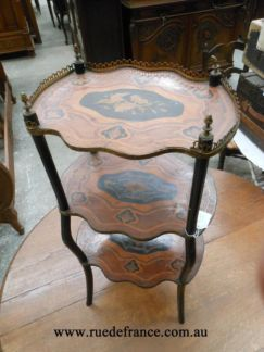 ANTIQUE FRENCH WALNUT BRONZE MARQUETRY  INLAY SIDE TABLE