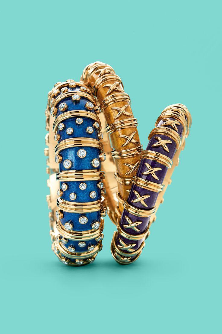 Tiffany & Co. Schlumberger® paillonné enamel bracelets in 18k gold. #TiffanyPinterest