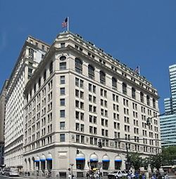 "The International Mercantile Marine Company Building, also known as One Broadway and the ""United States Lines-Panama Pacific Lines Building"", is a historic office building located on Broadway in New York, New York. The building was built in 1882 in the Queen Anne style as the Washington Building, on the former site of the Washington Hotel. The building was acquired by International Mercantile Marine Company (IMM) in 1919 to serve as its corporate headquarters and extensively altered to its…"