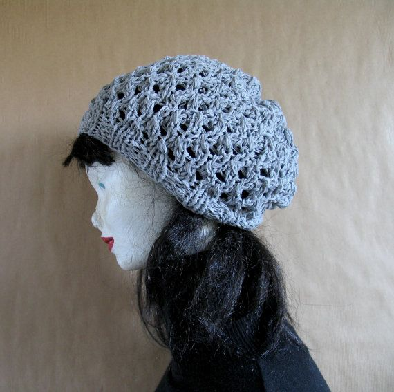 Gray Slouchy Beanie KNIT  Beret Grey Slouchy Hat by recyclingroom, $29.99