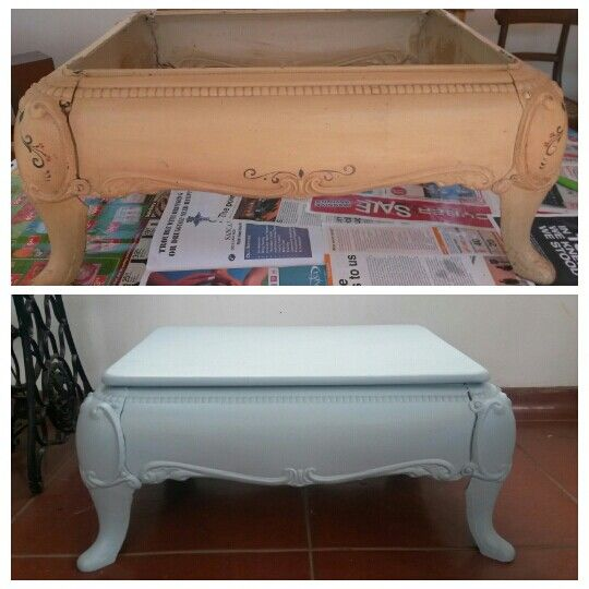 Painted old coal stove table before and after