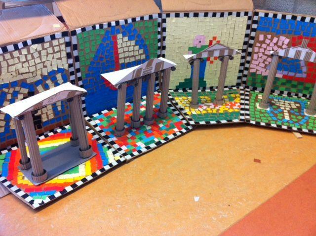 Project De Oudheid op de Vuurvogel in Gouda.  Een Romeinse straat met tempels…
