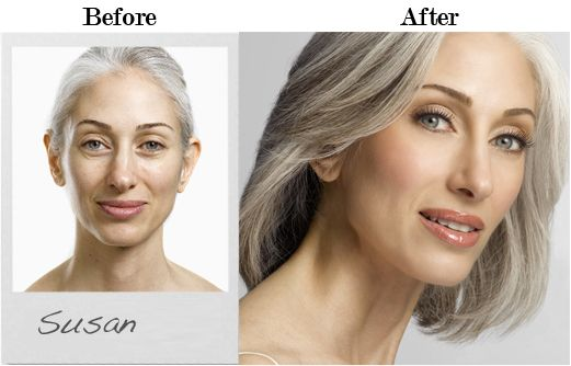 Susan-Hersh-Before-and-After. | Pretty Grey Hair | Pinterest
