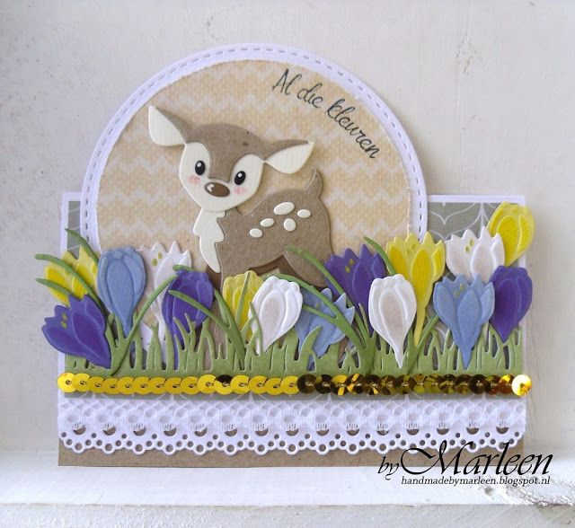 Handmade card by DT member Marleen with Creatables Tiny's Crocus (LR0400), Hearts & Cotton Lace (LR0413), Craftables Grass (CR1355), Basci: Passe Partout Circles (CR1360) and Collectables Eline's Deer (COL1401) from Marianne Design