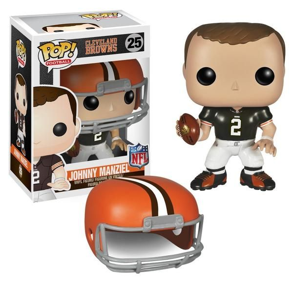 Johnny Manziel Vinyl Figure Football has the swagger, even in Pop! Vinyl format! The former Texas A&M quarterback was a Heisman Trophy winner his freshman year and was drafted b