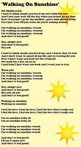 'Walking On Sunshine' Lyrics Sheet - house-md-fans Fan Art