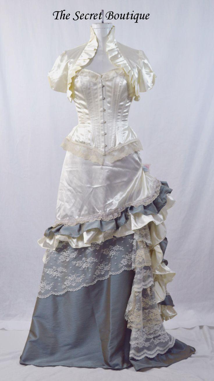 Victorian wedding dress western wedding gown steampunk for Victorian bustle wedding dress