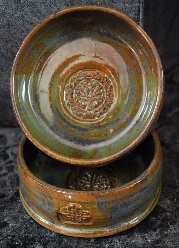Tree of Life Cat/Dog Bowl Set By Big Dog Pots Pottery #dogbowl #handmade www.etsy.com/shop/bigdogpots