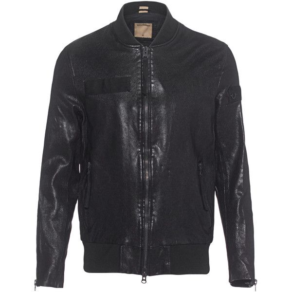 TRUE RELIGION Leather Bomber Black // Leather bomber jacket (£620) ❤ liked on Polyvore featuring men's fashion, men's clothing, men's outerwear, men's jackets, mens zip up jackets, mens leather jackets, mens leather flight jacket, mens leather bomber jacket and mens bomber jacket
