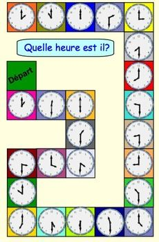 THREE TELLING TIME GAMES IN FRENCH (PDF) READY TO PRINT AND PLAY. -