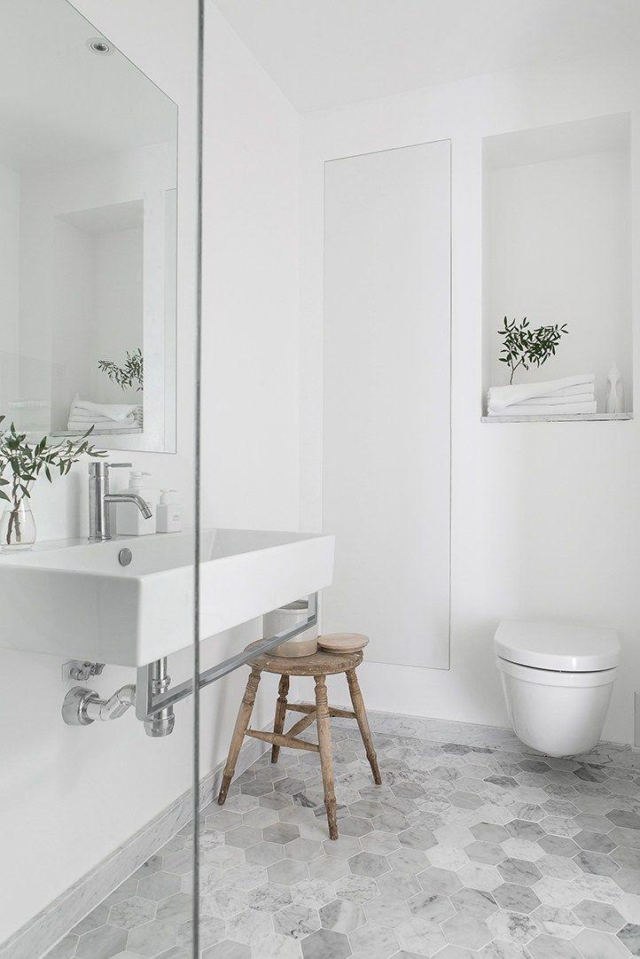 Simple Elegant Farmhouse Bathroom Light Airy White Large Grey Hexagonal Tile Floors