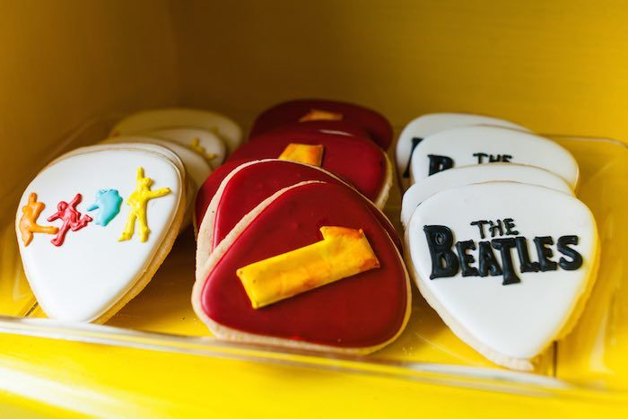 Guitar pick Cookies from a Beatles Inspired 1st Birthday Party via Kara's Party Ideas KarasPartyIdeas.com