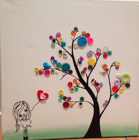 Handmade button tree and little girl by EllasArtistryStudio