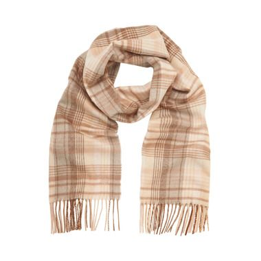 Mulberry Autumn Edit - Mulberry Check Scarf in Putty Pink Merino Cashmere Blend