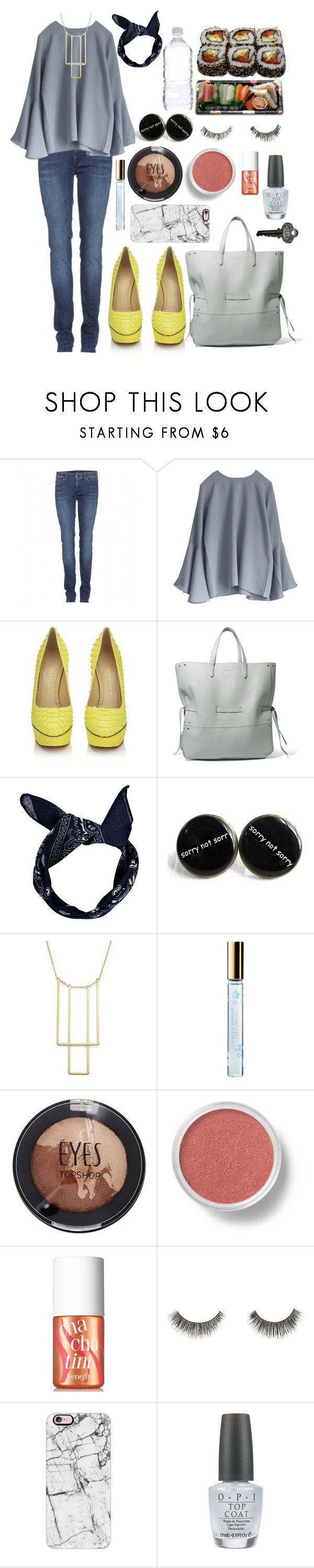 """""""Untitled #291"""" by racita on Polyvore featuring 7 For All Mankind, Charlotte Olympia, Jura, Jil Sander, Boohoo, Bloomingdale's, Marc Jacobs, Topshop, Bare Escentuals and Benefit"""