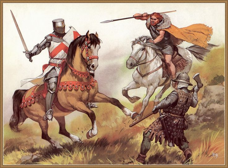1280 c? English knight vs Scottish warriors by Angus McBride