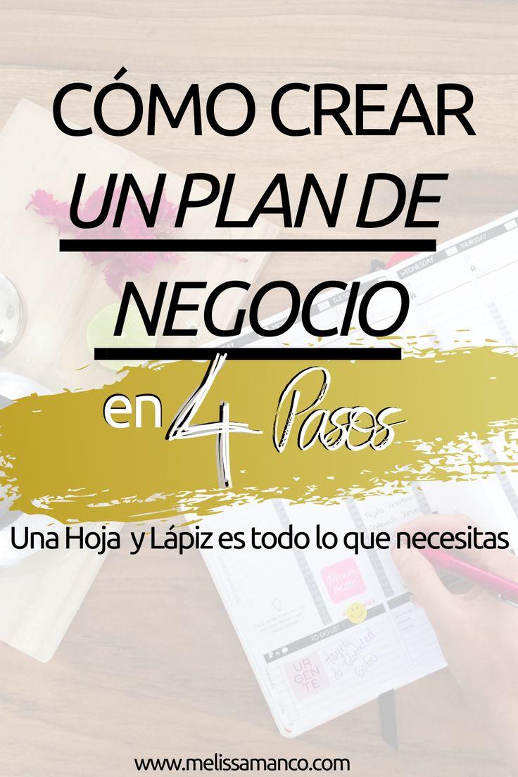 Cómo Crear un Plan de Negocio en 4 Pasos - Melissa Manco Work Productivity, Plans, Digital Marketing, Calm, Tan Solo, Business, Ideas, Amor, Business Tips